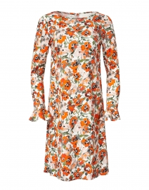 Lucy Orange Poppy Printed Stretch Crepe Dress