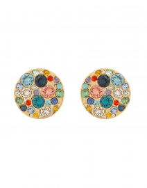 Lotus Gold Multi Crystal Stud Earring