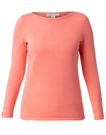 Living Coral Cotton Sweater with Pearl Cuffs