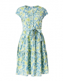 Blue and Green Floral Cotton Poplin Dress