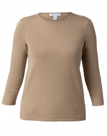 Fawn Beige Crew Neck Cotton Top
