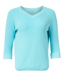 Aqua Pima Cotton Shaker Sweater