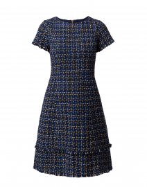 Navy and Camel Tweed Plaid Dress