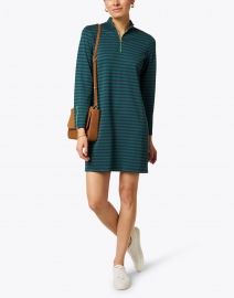 Sail to Sable - Navy and Hunter Green Striped Stretch Ponte Dress
