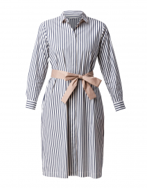 Navy and White Striped Stretch Cotton Dress
