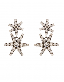 Pluto Crystal and Gunmetal Star Drop Earrings