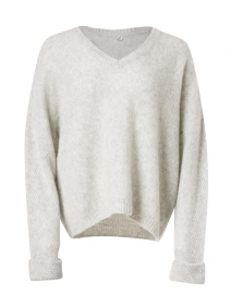 Grey Silk Cashmere Seed Stitch Sweater