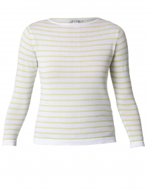 White and Wasabi Fine Stripe Boatneck Sweater
