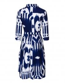 Samantha Sung - Audrey Cobalt Blue and White Ikat Print Stretch Cotton Dress