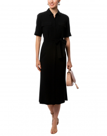 Doha Black Finesse Crepe Shirt Dress