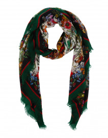 Green and White Floral Cashmere Scarf