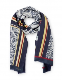 Zeo Navy and White Floral Print Wool Silk Scarf