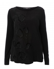 Aloe Black Embroidered Silk Top