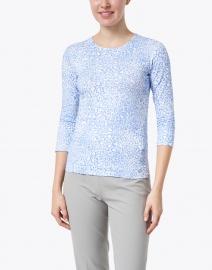 Leggiadro - Blue & Ivory Animal Print Cotton Jersey Tee