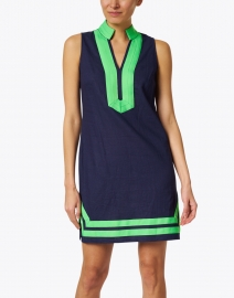 Sail to Sable - Navy Stretch Linen Classic Tunic Dress