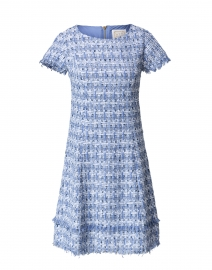 Blue and Silver Tweed Fringe Dress
