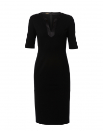 Black Luxe Jersey Sheath Dress with Satin Trim