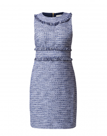 Navy and Cream Tweed Sleeveless Dress