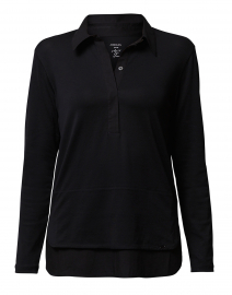 Black Henley Cotton Shirt with Tiered Hem