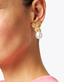 Kenneth Jay Lane - White Pear Pearl with Gold Crystal Crown Clip-On Earring