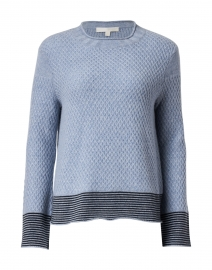 Honeycomb Blue Cashmere Sweater