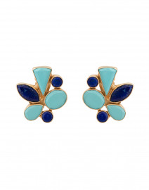 Turquoise and Lapis Cluster Clip On Earring