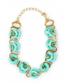 Turquoise and Gold Resin Rings Link Necklace