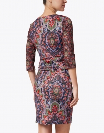 Gretchen Scott - Red and Black Paisley Ruched Jersey Dress