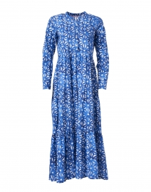 Blue Geometric Floral Print Cotton Dress