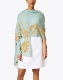 Janavi - Seafoam and Gold Rose Embellished Wool Scarf