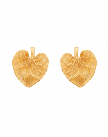 Eucalyptus Gold Leaf Button Earring