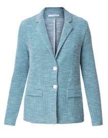 Chantal Teal and White Cotton Blazer