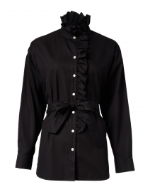 Michaela Black Ruffled Oversize Cotton Tunic