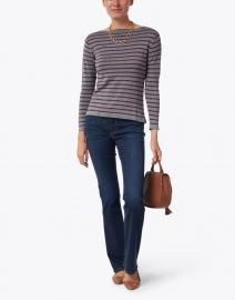 Blue - Grey and Bordeaux Fine Stripe Boatneck Sweater