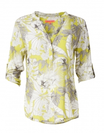 Filippa Lime Green Lurex Palm Print Cotton Top