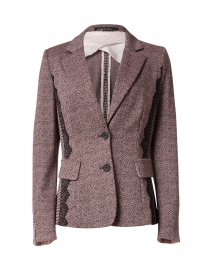 Plum and Ecru Herringbone Printed Blazer