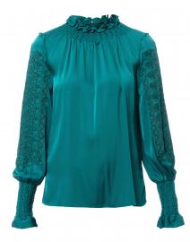 Talita Teal Stretch Silk Blouse