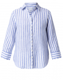 Iris Indigo and White Striped Linen Shirt