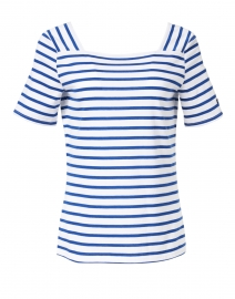 Pleneuf White and Gitane Blue Striped Cotton Top