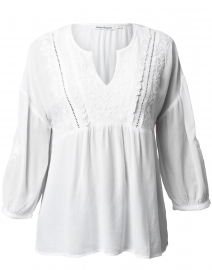 Leslie White Floral Embroidered Top