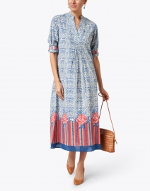 Lisa Corti - Radha Blue and Red Berber Design Print Cotton Kaftan