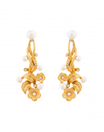 Gold Flower and Pearl Drop Earring