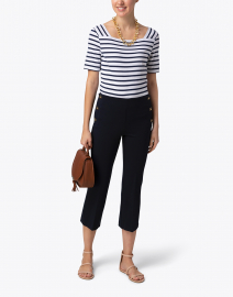 Ecru -  Worth Navy Pant with Side Buttons