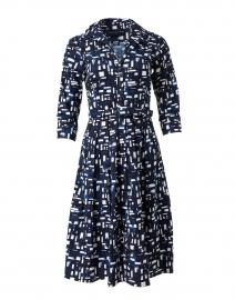 Audrey Indigo Abstract Print Stretch Cotton Dress