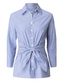 Ellis Blue and White Striped Tie Front Tunic