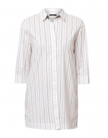 Wade Grey and Beige Striped Cotton Button Down Shirt