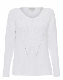 White Ribbed Cotton Sweater