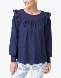 Sail to Sable - Navy Embroidered Cotton Eyelet Top