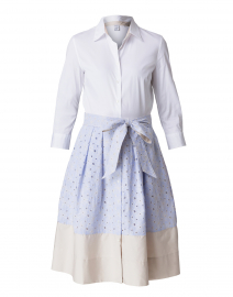 Blue and Beige Eyelet Stretch Cotton Shirt Dress
