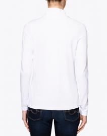 E.L.I. - White Cotton Ruched Mock Neck Top